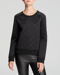 Sweatshirt quilted stud with faux leather shoulders medium 118785