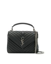 Saint Laurent Black College Medium Leather Shoulder Bag
