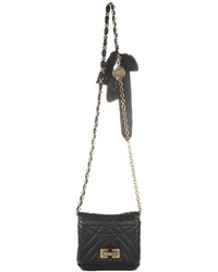 Lanvin Black Quilted Leather Happy Mini Pop Crossbody Bag