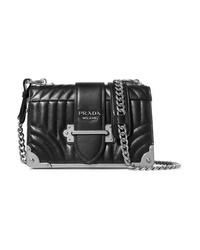 04e6143bca0e Women s Black Quilted Leather Crossbody Bags by Prada