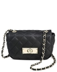 Mossimo Faux Leather Quilted Flap Solid Crossbody Handbag Black Tm