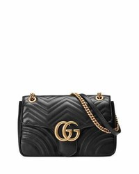 Gg marmont 20 medium quilted shoulder bag black medium 729592