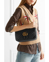 4f4ca61ff0dc ... Gucci Gg Marmont 20 Small Quilted Leather Shoulder Bag Black ...