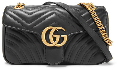 02f5931bdb80 Gucci Gg Marmont 20 Small Quilted Leather Shoulder Bag Black, $1,890 ...