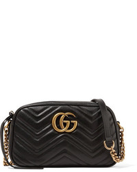 Gucci Gg Marmont Camera Small Quilted Leather Shoulder Bag Black
