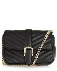 Topshop Magic Quilted Faux Leather Crossbody Bag Black