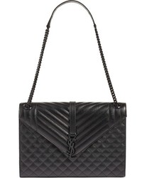 Saint Laurent Medium Monogram Chevron Quilted Leather Shoulder Bag Black