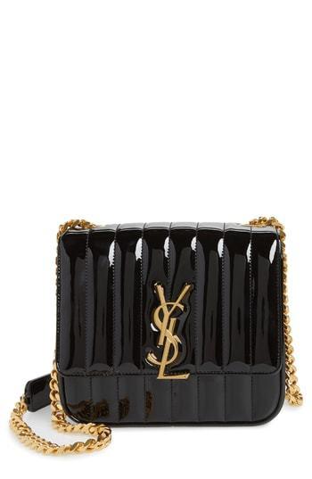 14153757048 Saint Laurent Medium Vicky Patent Leather Crossbody Bag, $2,290 ...