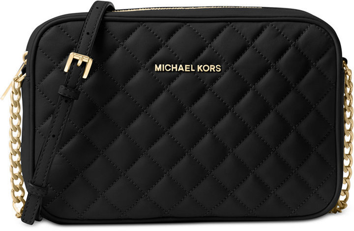d2ceeae509b6 ... Black Quilted Leather Crossbody Bags MICHAEL Michael Kors Michl Michl Kors  Jet Set Travel Large East West Quilted Crossbody ...