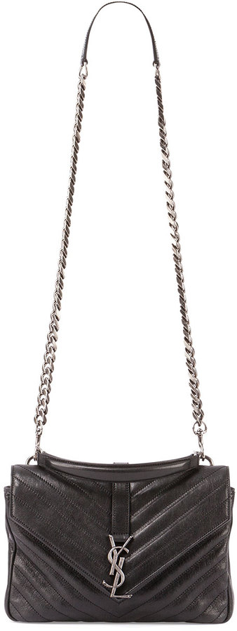 Monogram College Medium Chain Satchel Black. Black Quilted Leather  Crossbody Bag by Saint Laurent 6c970b238d