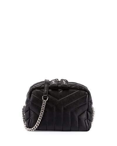 1dcfd0ddcb ... Saint Laurent Monogram Y Quilted Mini Leather Camera Crossbody Bag Black  ...