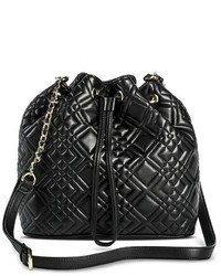 Merona Quilted Cinch Crossbody Faux Leather Handbag With Snap Closure Black Tm