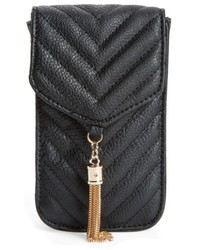 Amici Accessories Quilted Faux Leather Phone Crossbody Bag Black