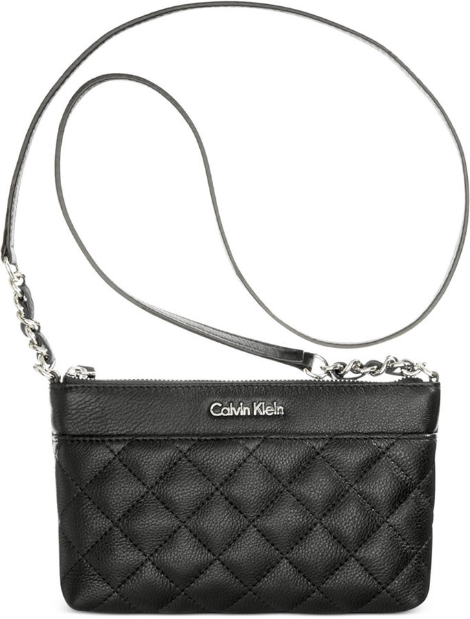 eb93a24451 ... Black Quilted Leather Crossbody Bags Calvin Klein Small Pebble Crossbody  ...