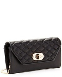 Susu Faye Quilted Envelope Clutch Crossbody Leather Wallet Black
