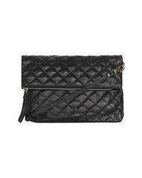 Topshop Quilted Leather Crossbody Bag Black