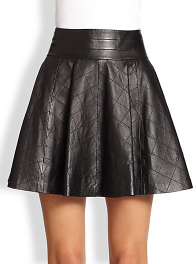 Milly Delphine Quilted Fit Flare Leather Skirt | Where to buy ... : quilted leather skirt - Adamdwight.com