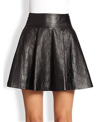 Milly Delphine Quilted Fit  Flare Leather Skirt