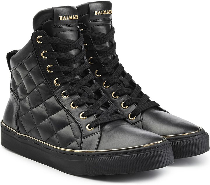 Balmain Quilted Leather High Top