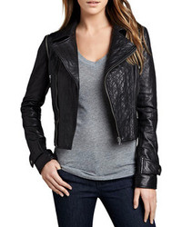 Neiman Marcus Cusp By Quilted Panel Convertible Leather Jacket