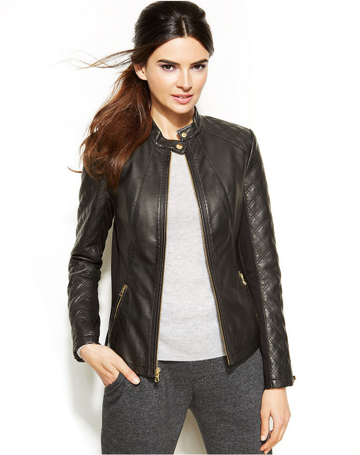 Womens black faux leather moto jacket