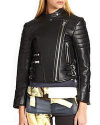 Acne Studios Moi Quilted Panel Leather Biker Jacket