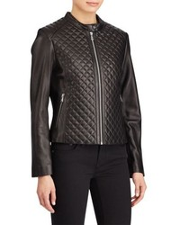 Lauren Ralph Lauren Quilted Detail Lambskin Leather Jacket