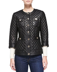 Neiman Marcus Quilted Leather Jacket W Golden Buttons