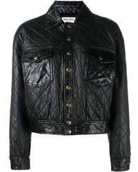 Saint laurent cropped quilted leather jacket medium 779647