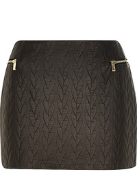 River Island Black Quilted Leather Look Mini Skirt