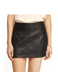 Express Leather Bandage Mini Skirt Black 10