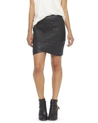 Mossimo Faux Leather Quilted Mini Skirt Black