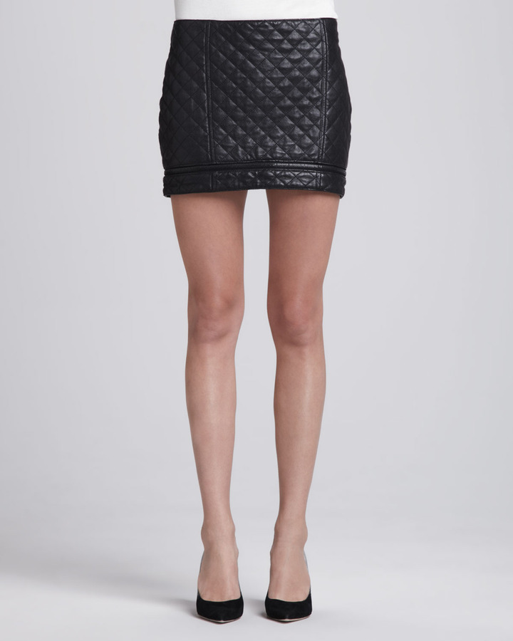 haute hippie quilted leather zip miniskirt where to buy