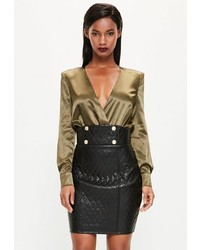 Missguided black quilted faux leather mini skirt medium 1198677