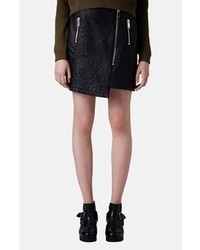 Topshop Quilted Asymmetrical Faux Leather Skirt