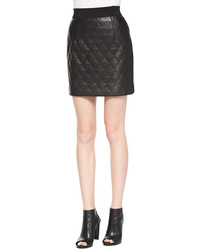 Milly Quilted Banded Leather Miniskirt