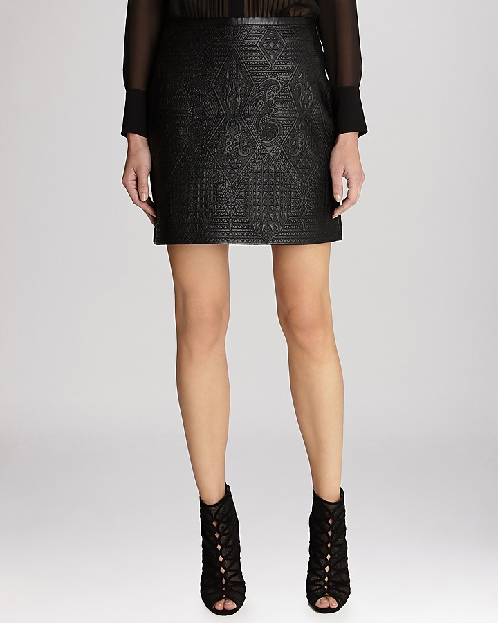 Karen Millen Skirt Tribal Quilted Faux Leather Collection | Where ...