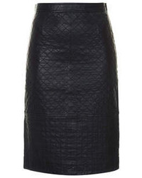 Black leather pencil skirt with quilted detail 100 leather machine washable medium 85475