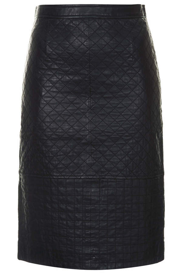 black quilted leather pencil skirt topshop black leather