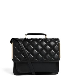 Asos Quilted Flap Satchel Bag With Metal Bars Black