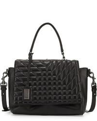 Badgley Mischka Frankie Quilted Leather Satchel Bag Black
