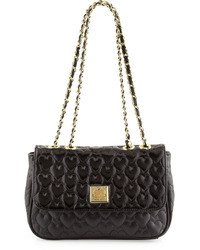 Betsey Johnson Be My Wonderful Pebbledpatent Quilted Faux Leather Shoulder Bag Black