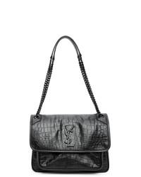 Saint Laurent Black Croc Medium Niki Bag