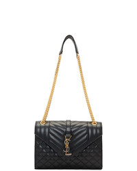 Saint Laurent Black Medium Mix Matelasse Envelope Bag