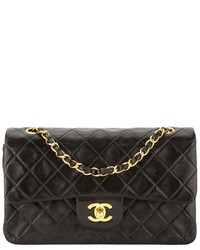 Chanel Black Quilted Lambskin Leather Double Flap Bag