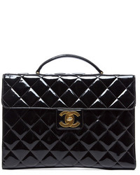 Chanel Black Quilted Patent Briefcase