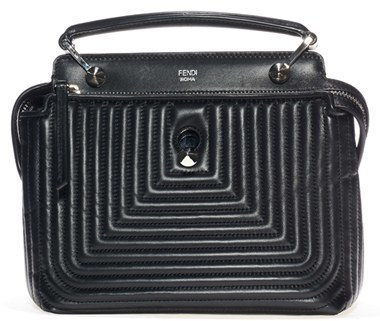 Fendi Dotcom Click Quilted Leather Satchel Black