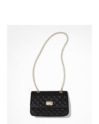 Express Quilted Chain Strap Shoulder Bag Black
