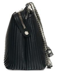 Fendi Dotcom Quilted Lambskin Leather Shoulder Bag Black