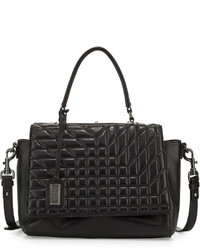 Badgley Mischka Frankie Quilted Leather Satchel Bag Black